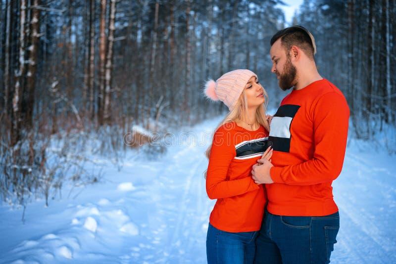 Den härliga paranseendearmen i arm i den röda tröjan i bakgrunden av skogen i vinter, går i vinterträna arkivbilder