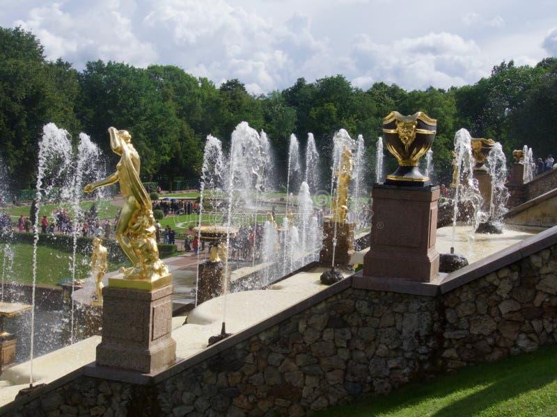 Den härliga Peterhof slotten i den St Petersburg dragningen royaltyfria foton