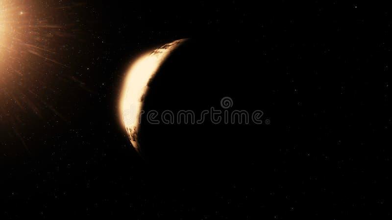 Den härliga planeten roterar på bakgrunden av natthimmel Planet med nebulosan i djupt utrymme Djup planetrotation in royaltyfri illustrationer