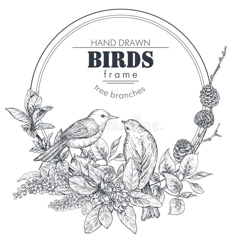 Den härliga ramen med handen drog fåglar, förgrena sig, blommar och växter stock illustrationer
