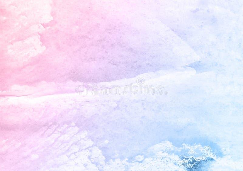 Den härliga rosa färg- och blåttborstevattenfärgen målar bakgrund, härlig planet vektor illustrationer