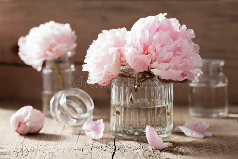 Den härliga rosa pionen blommar buketten i vas fotografering för bildbyråer
