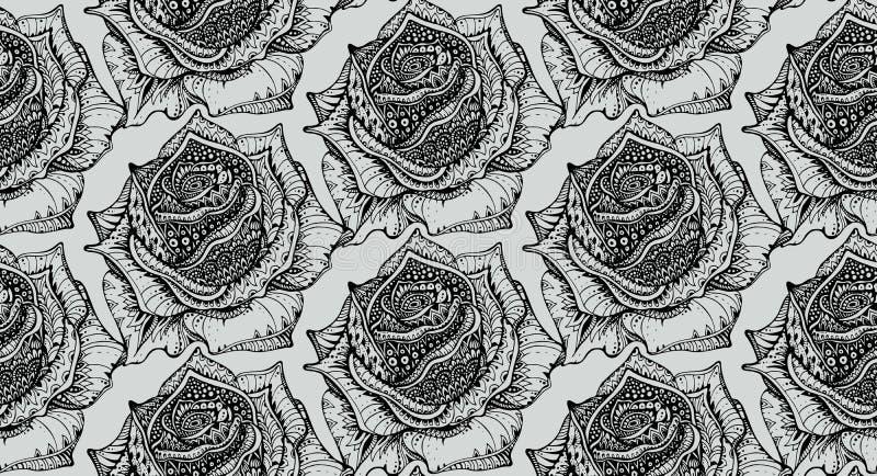 Den härliga sömlösa modellen med handen dragit utsmyckat steg blommor stock illustrationer