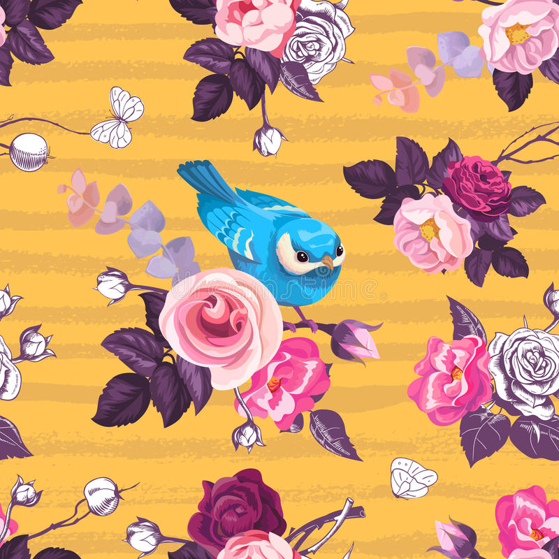 Den härliga sömlösa modellen med rosa färgrosen blommar och den lilla blåa fågeln mot orange bakgrund med horisontalgrungy band V vektor illustrationer