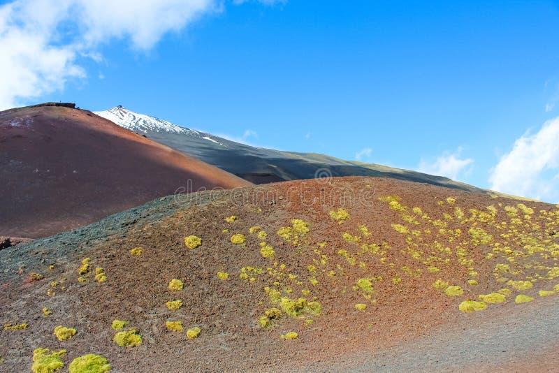 Den h?rliga sikten av ?verkanten av Mount Etna i Sicilien, Italien omgav vid vulkaniskt landskap Sn? p? mycket ?verkanten av berg arkivbild