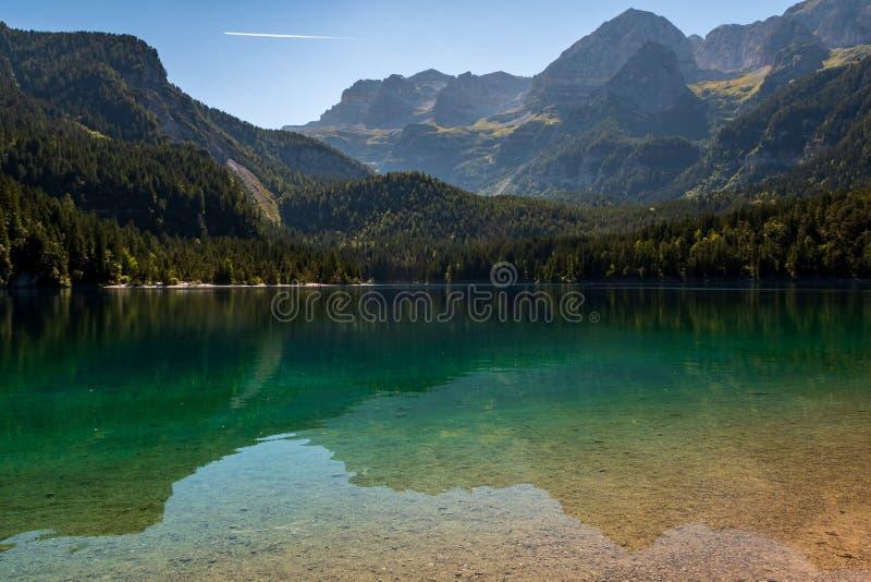 Den härliga sikten av sjön Tovel, de största naturliga sjöarna i Trentino i Adamelloen Brenta parkerar allra royaltyfria bilder