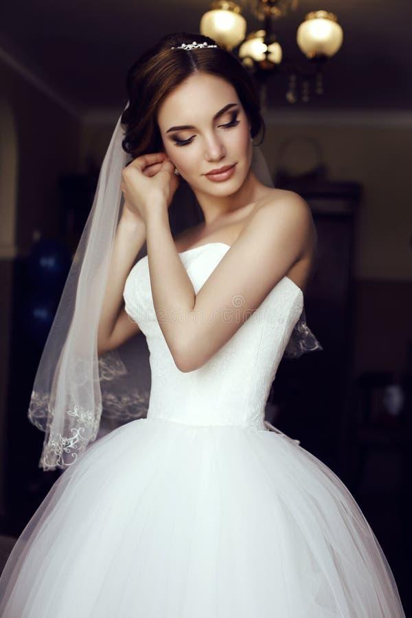 Den härliga sinnliga bruden med mörkt hår i lyxigt snör åt bröllopsklänningen arkivbild