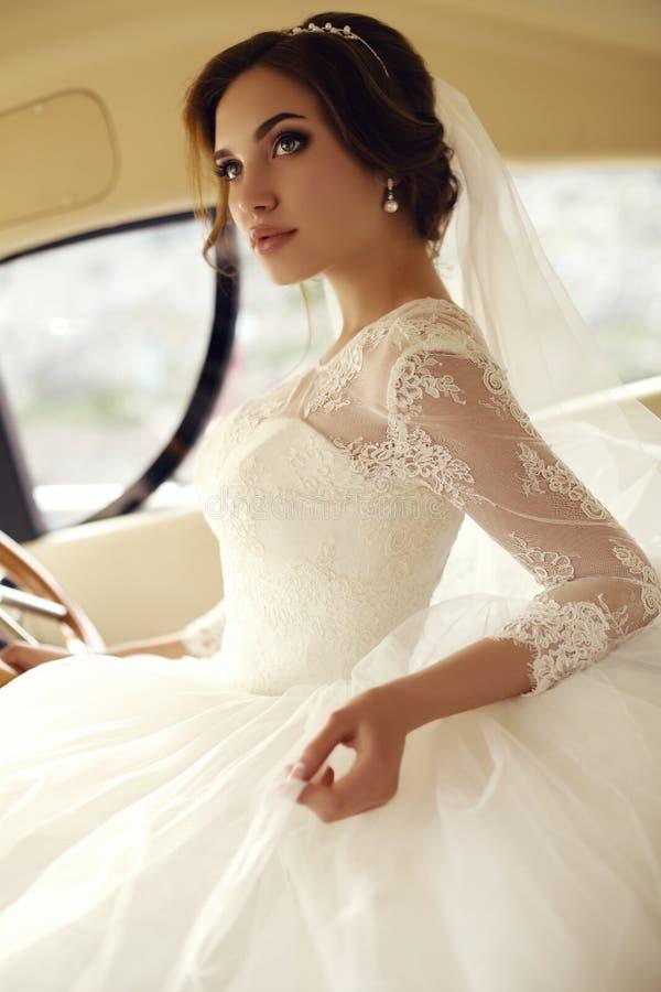 Den härliga sinnliga bruden med mörkt hår i lyxigt snör åt bröllopsklänningen arkivfoton