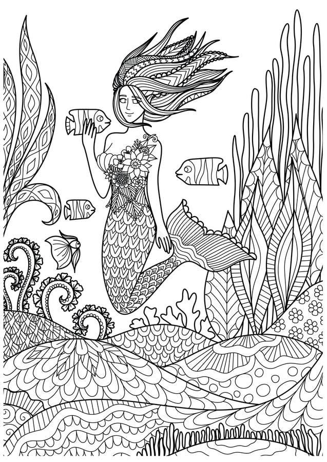 Den härliga sjöjungfrun som spelar med fisken under havet med fantastiska koraller, planlägger för vuxna sidor för färgläggningbo stock illustrationer