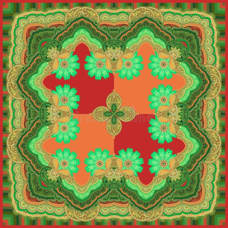 Den härliga sjalen i etnisk stil med mandalasblommor och paisley smyckar i röda, gröna och orange färger stock illustrationer