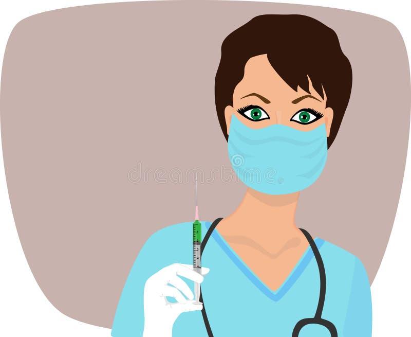Den härliga sjuksköterskan ordnar till för att göra en injektion stock illustrationer