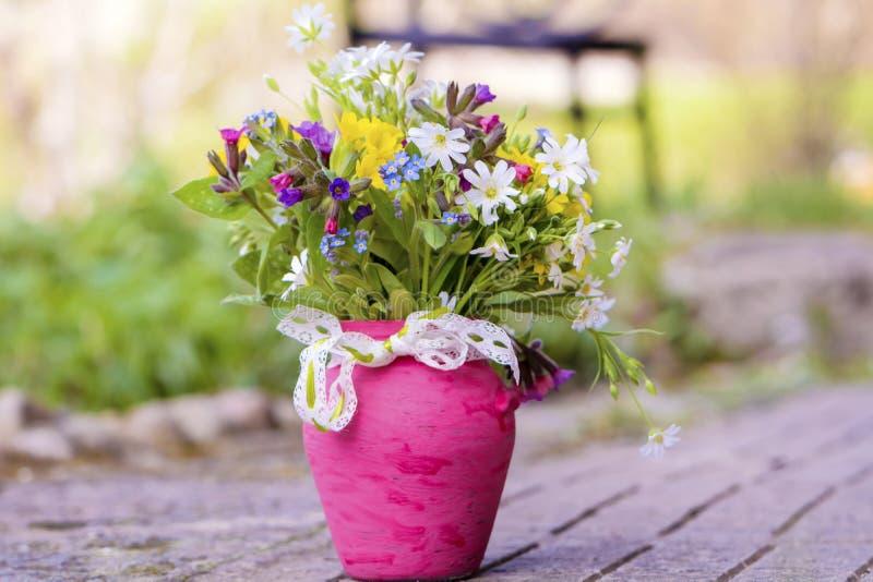 Den härliga skogen blommar i rosa vas med bandet royaltyfri bild