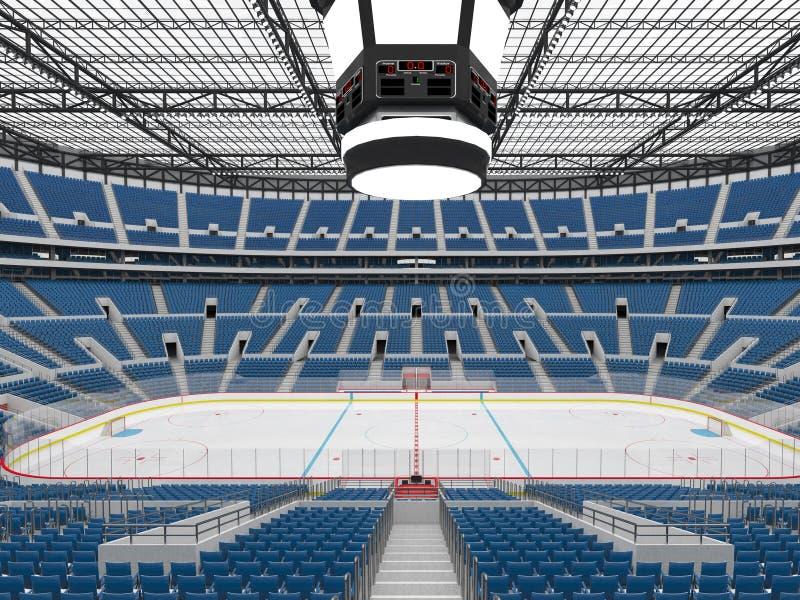 Den härliga sportarenan för ishockey med blått placerar storgubbeaskar som 3d framför vektor illustrationer