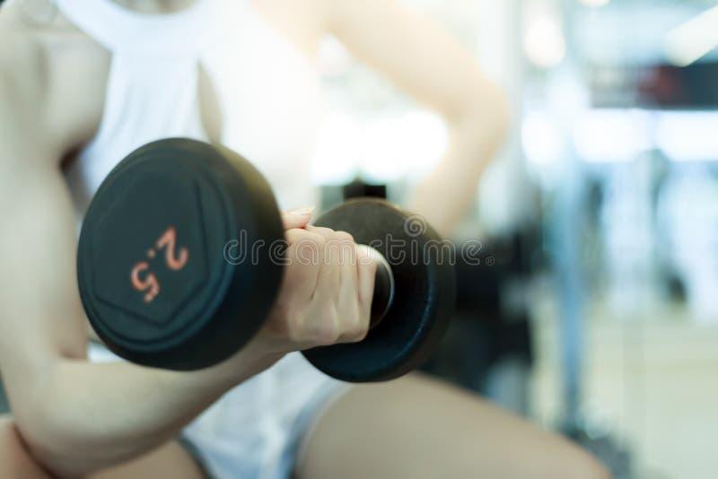 Den härliga sportflickan lyfter hanteln för att vinna hennes biceps royaltyfri fotografi