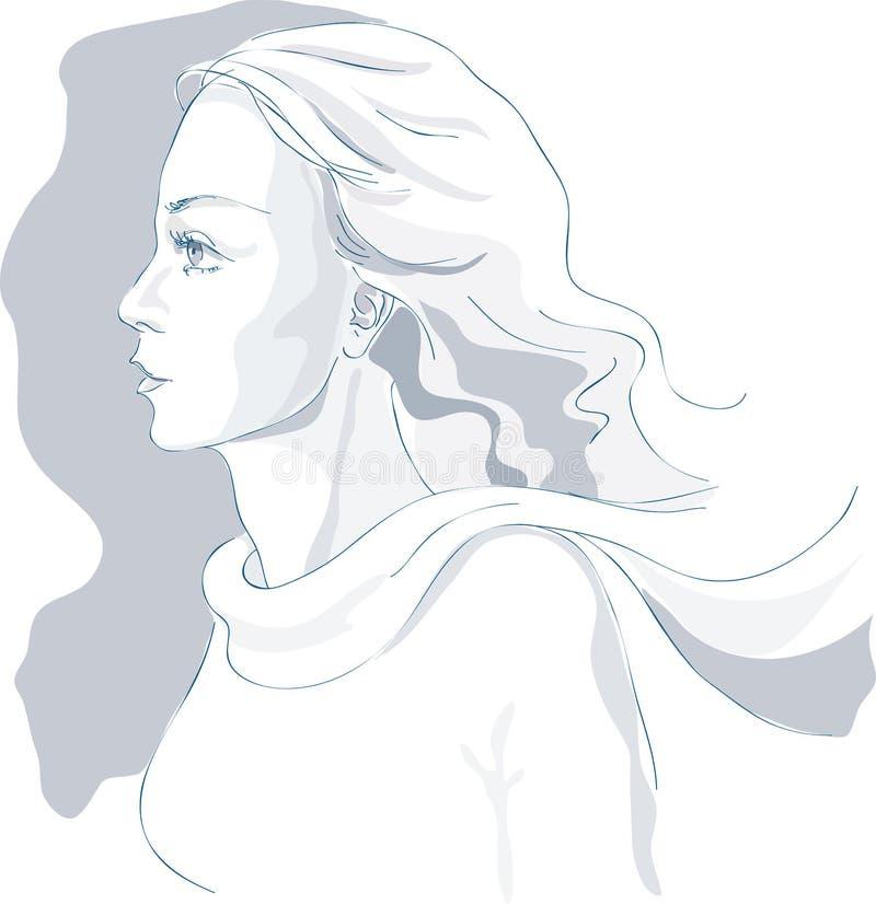 den härliga ståendeprofilen skissar vektorkvinnan royaltyfri illustrationer
