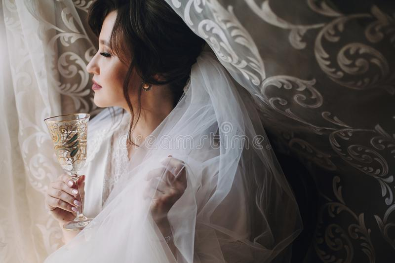 Den härliga stilfulla brunettbruden som poserar i siden- ämbetsdräkt skyler under, med champagneexponeringsglas i morgonen Lyckli royaltyfria foton