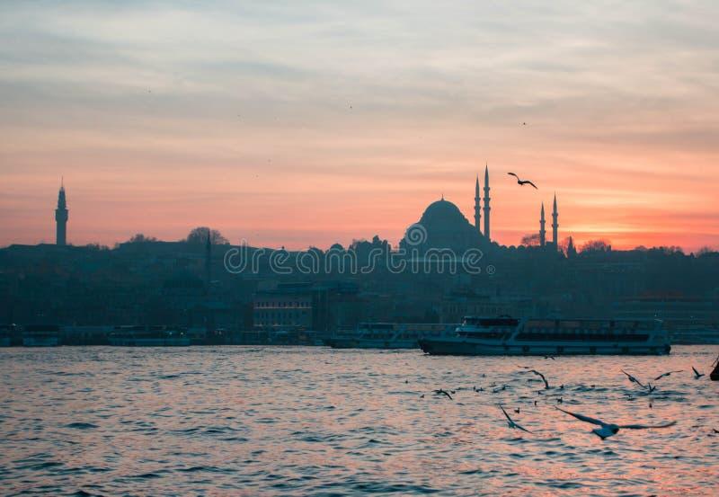 Den härliga Suleymaniye moskén i Istanbul, Turkiet Solnedgång arkivfoton
