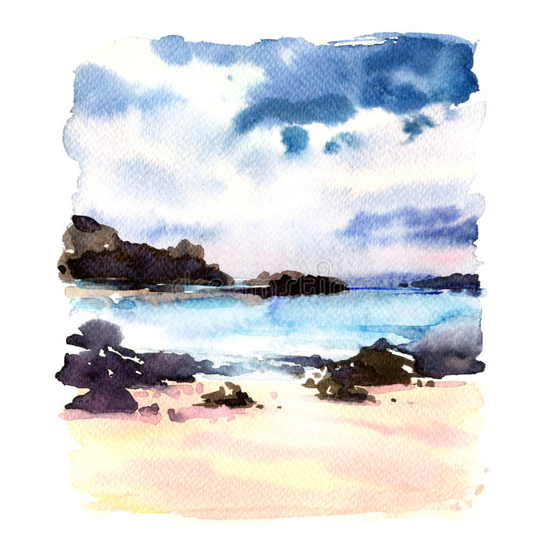 Den härliga tropiska stranden med vaggar i vattnet, seascape, havslandskap, vattenfärgillustrationen royaltyfri illustrationer