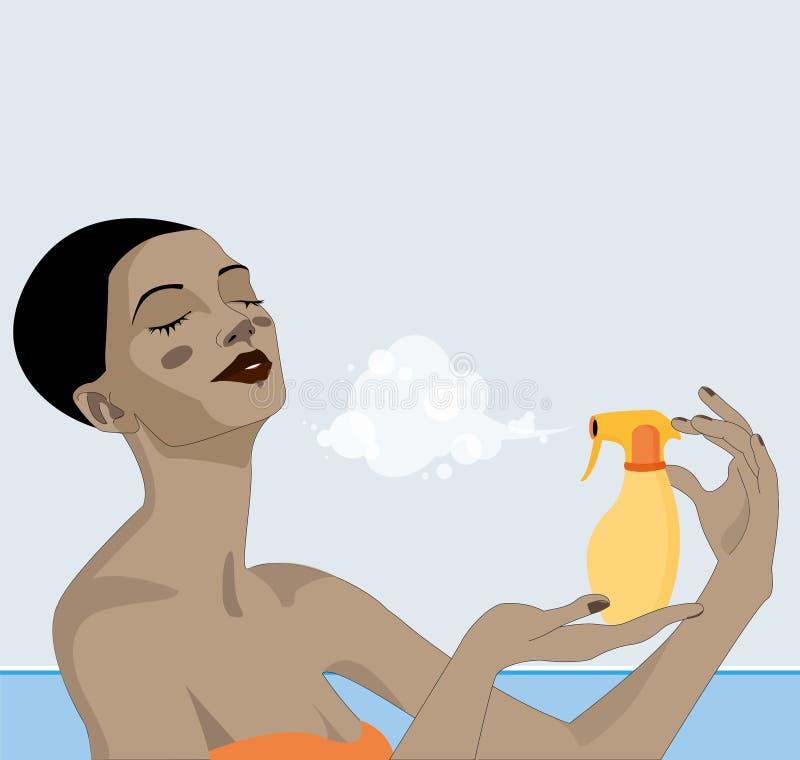 Den härliga unga afro amerikanska kvinnan, med en manlig frisyr, avdunstar solbrännakräm i hennes framsida och hals på sommartid  arkivbilder