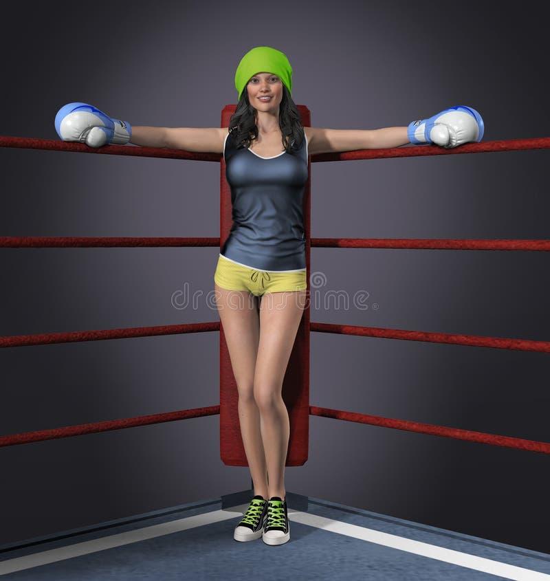 Den härliga unga boxareflickan poserar vektor illustrationer