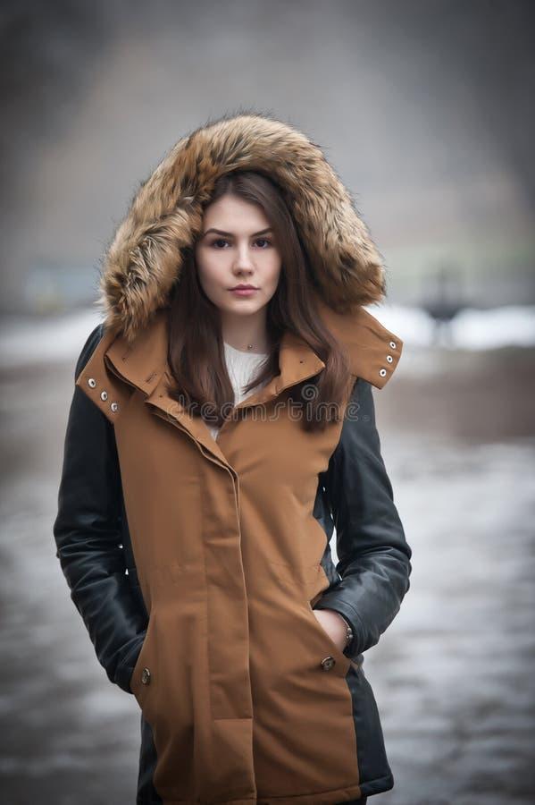 Den härliga unga flickan med det bruna laget som klippas med grå färger, pälsfodrar tycka om vinterlandskapet parkerar in Tonårs- royaltyfria foton