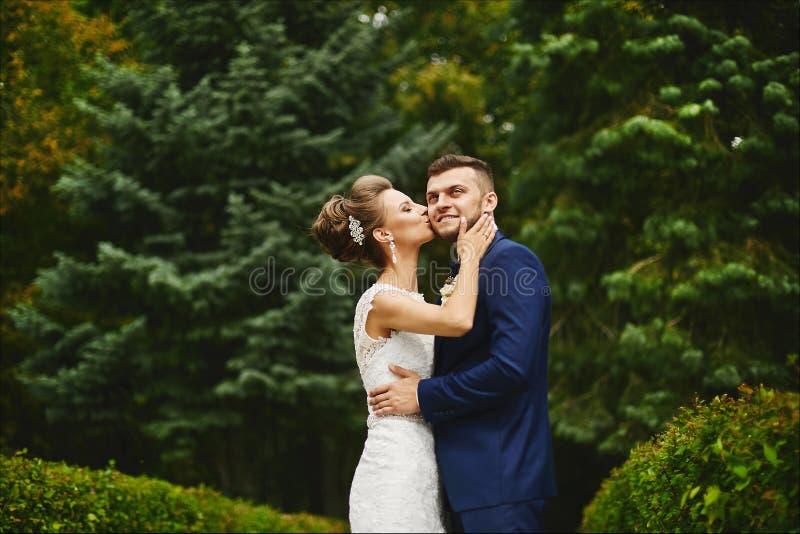 Den härliga unga kvinnan med den perfekta kropp- och gifta sigfrisyren i snör åt klänningkramar och att kyssa en stilig brutal ma arkivfoton
