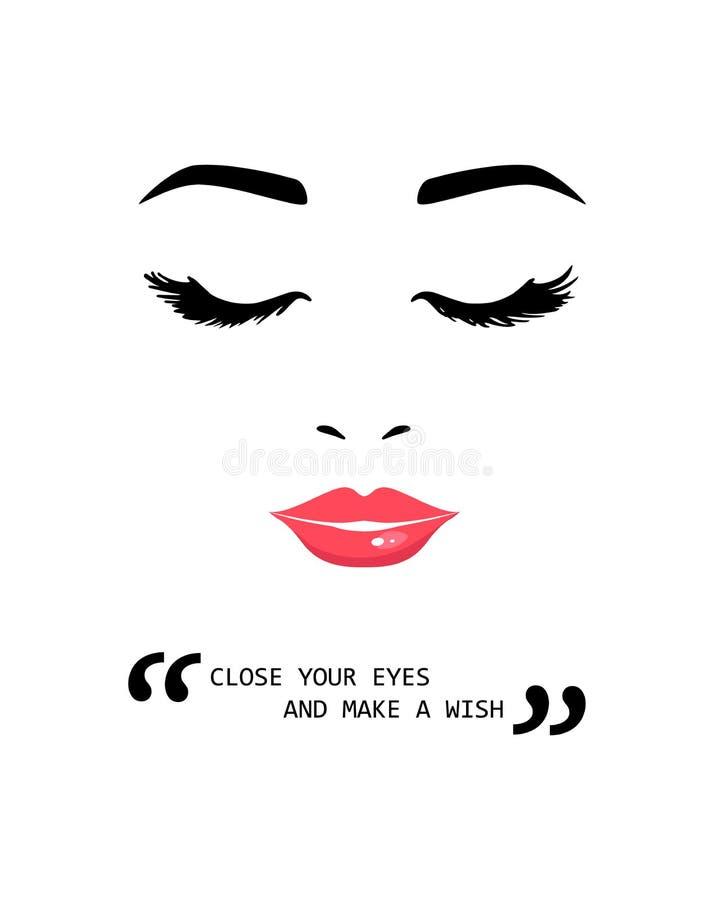 Den härliga unga kvinnan med stängda ögon och den inspirerande motivationen citerar Stäng dina ögon och gör en önska Idérika cita royaltyfri illustrationer