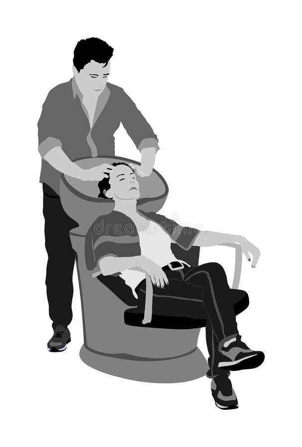 Den härliga unga kvinnan tvättar hår i en illustration för vektor för skönhetsalong Hår för ` s för frisörtvagningklient i hårtva vektor illustrationer