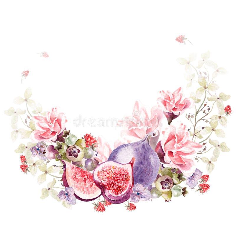 Den härliga vattenfärgkransen med vanliga hortensian, steg blommor och hallonet stock illustrationer