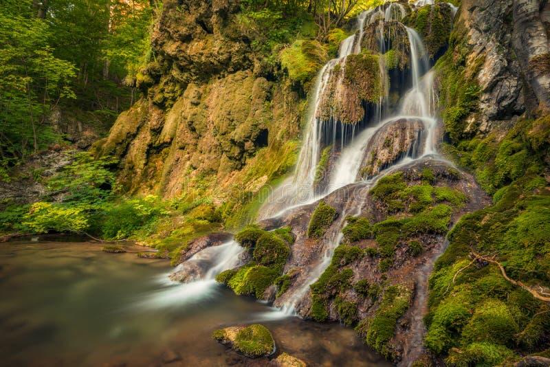 Den härliga vattenfallet i naturligt landskap med vaggar och mossa royaltyfri fotografi
