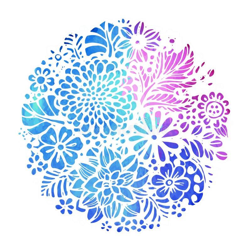 Den härliga vektorn blommar och växter i cirkeln royaltyfri illustrationer