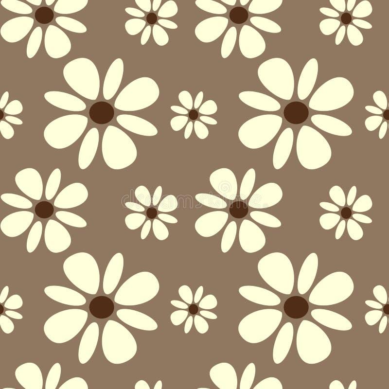Den härliga vita tusenskönan blommar på sömlös modellbakgrund för brun bakgrund royaltyfri illustrationer