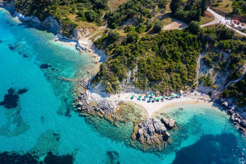 Den härliga Xigia stranden på den Zakynthos ön, Ionian hav, Grekland arkivbild
