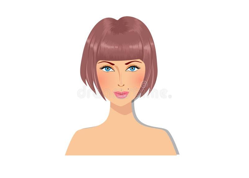 Den härligt brunhåriga flickan med blåa ögon och storartat guppar ståenden för frisyren för färg för frisyrkaramellbrunt stock illustrationer