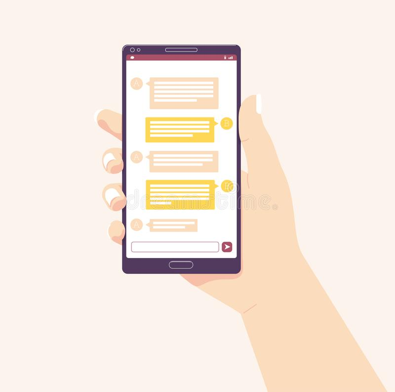 Den hållande mobilen ringer också vektor för coreldrawillustration anslutningar för begrepp för tavla för blackboardaffärskrita s royaltyfri illustrationer