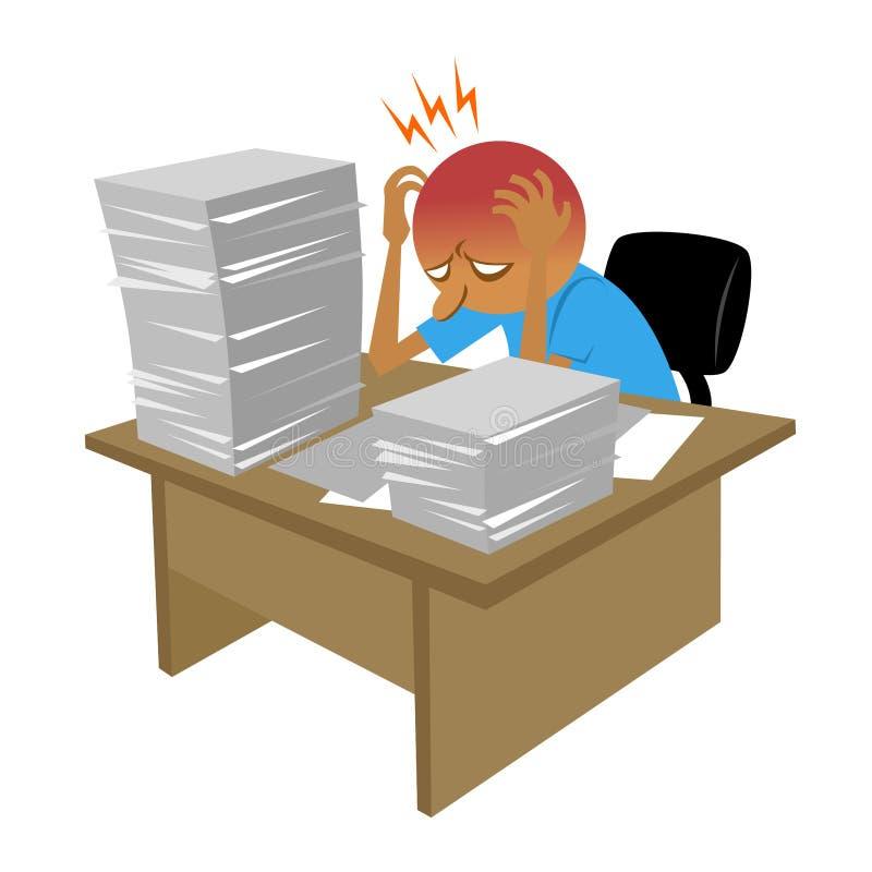 Den hårda dagen för vektorn i kontoret, finns gör det så mycket skrivbordsarbete som ska göras, honom förvirrar och deprimerat royaltyfri bild
