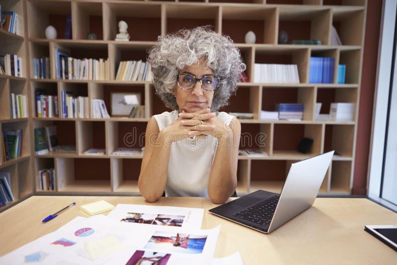 Den höga affärskvinnan som använder bärbara datorn ser i regeringsställning, till kameran royaltyfria foton