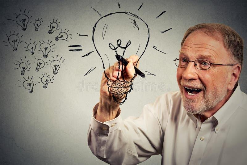 Den höga affärsmannen har en idé som drar en lightbulb med pennan arkivfoton
