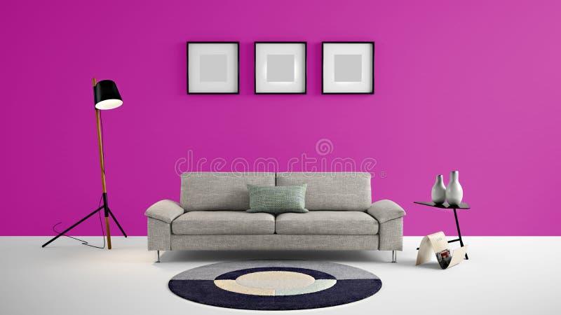 Den höga illustrationen för bosatt område 3d för upplösning med rosa färger färgar vägg- och formgivaremöblemang vektor illustrationer
