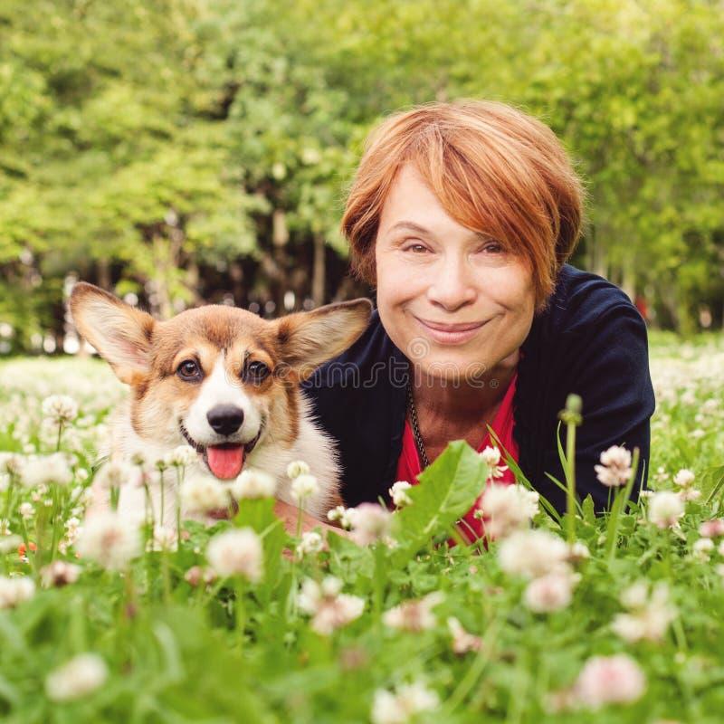 Den höga kvinnan med hennes husdjurvänhund på grönt gräs i sommar parkerar ståenden arkivbild