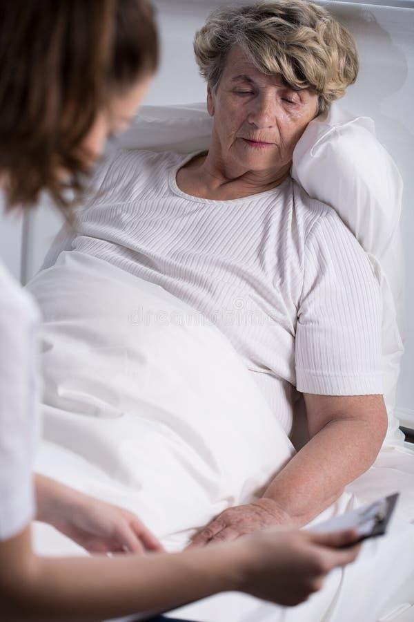 Den höga patienten av oncology avvärjer arkivfoto