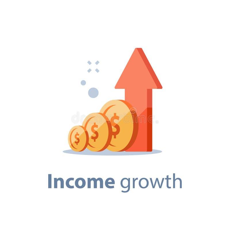 Den höga räntesatsen, långsiktig investera strategi, inkomsttillväxt, ökar affärsintäkt, att lyfta för fond, pensionbesparingar,  royaltyfri illustrationer