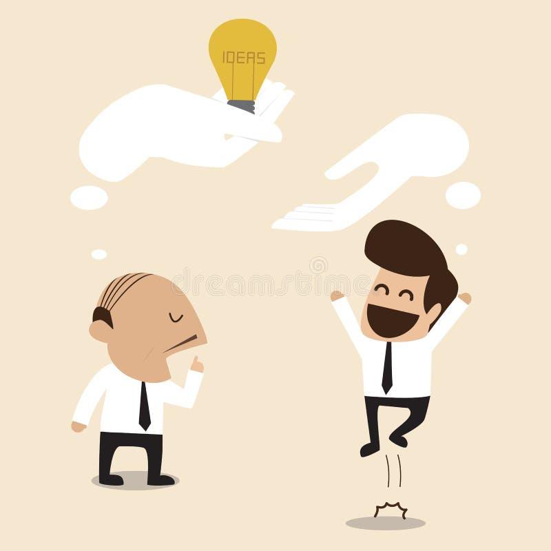 Den höga rådgivaren ger en idé till den unga affärsmannen stock illustrationer