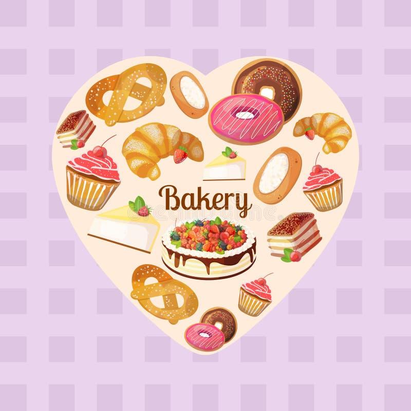 Den högvärdiga samlingen av färgrika smakliga kakor och bagerit i hjärta formar stock illustrationer