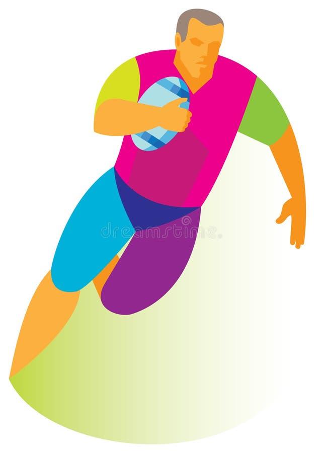 Den högväxta och kraftiga a-rugbyspelaren med en boll i hans hand börjar att anfalla vektor illustrationer