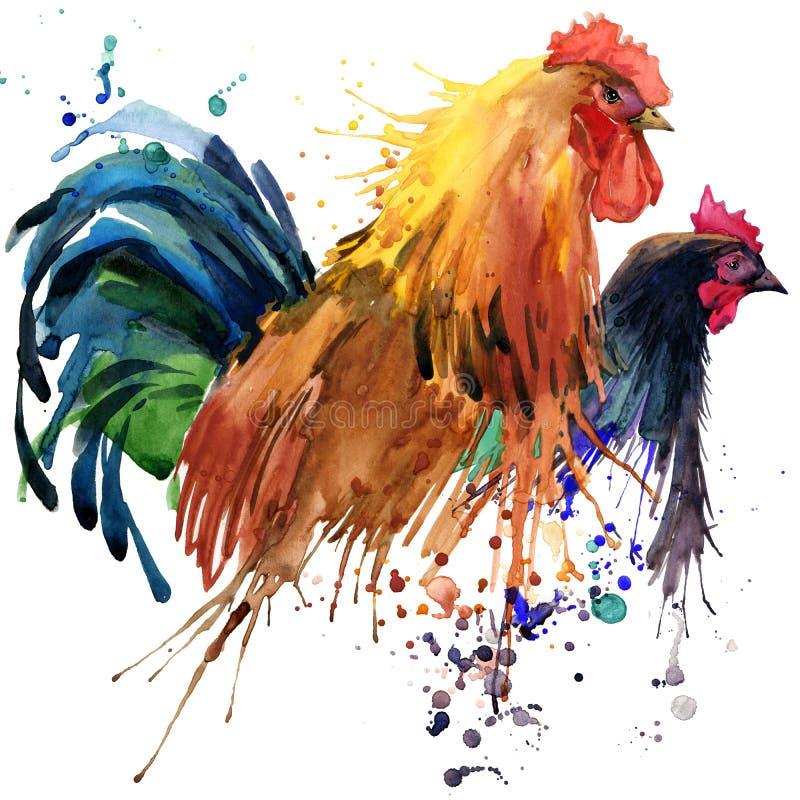 Den höna- och för den tuppT-tröjadiagram, höna och tuppen familjillustrationen med färgstänkvattenfärgen texturerade bakgrund Ill stock illustrationer