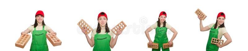 Den h?llande lerategelstenen f?r kvinna som isoleras p? vit royaltyfri fotografi