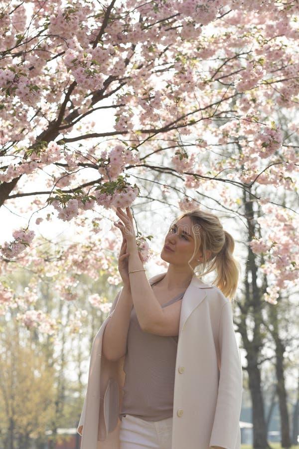 Den h?rliga blonda unga kvinnan i Sakura Cherry Blossom parkerar i v?r som tycker om naturen och fri tid under hennes resande arkivfoto