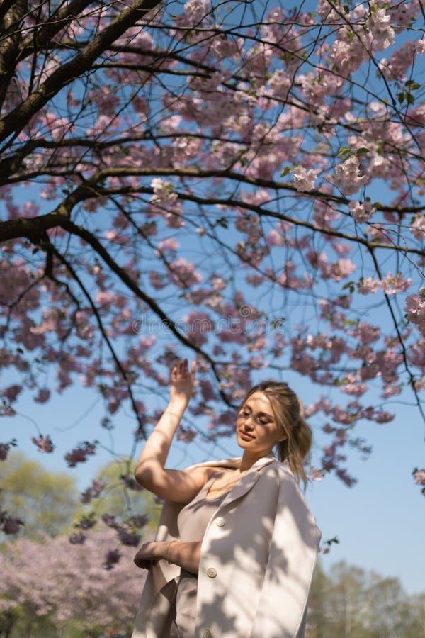 Den h?rliga blonda unga kvinnan i Sakura Cherry Blossom parkerar i v?r som tycker om naturen och fri tid under hennes resande royaltyfri fotografi