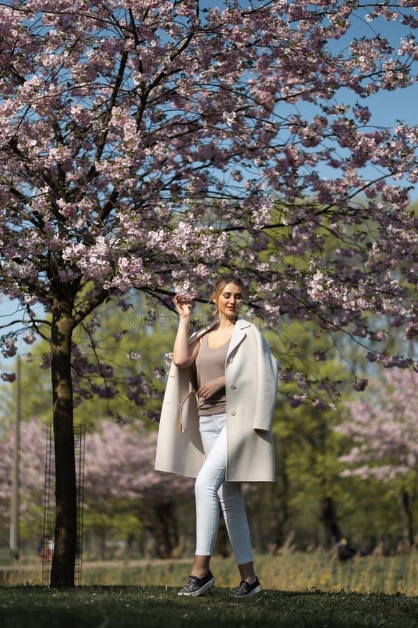 Den h?rliga blonda unga kvinnan i Sakura Cherry Blossom parkerar i v?r som tycker om naturen och fri tid under hennes resande royaltyfria foton